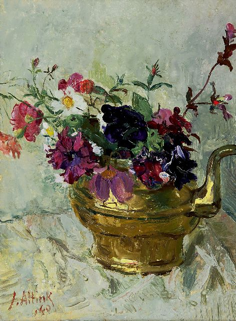 Jan Altink | Flowers in a copper kettle, Öl auf Leinwand, 40,1 x 30,3 cm, signed l.l. und datiert '40