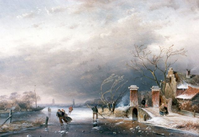 Charles Leickert | A winter landscape with skaters on the ice, Öl auf Tafel, 20,2 x 28,5 cm