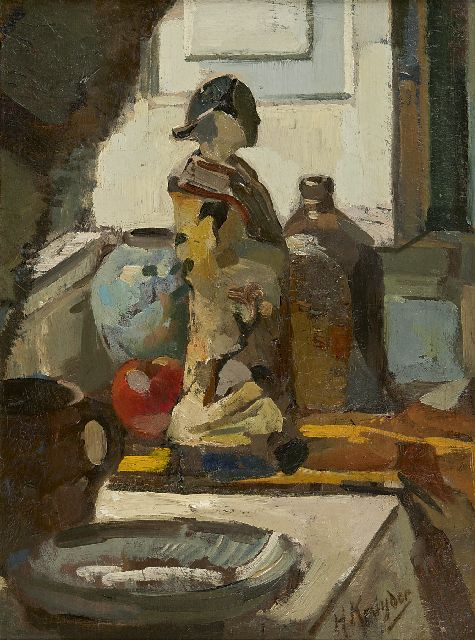 Herman Kruyder | A still life with a Satsuma statue, Öl auf Tafel, 50,0 x 38,5 cm, signed l.r. und painted before 1916