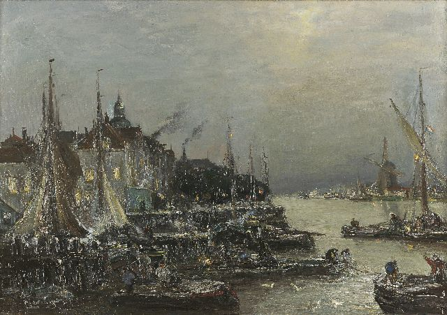 Louis Apol | The harbour of Dordrecht with the 'Groothoofd', Öl auf Leinwand, 56,6 x 80,6 cm, signed l.l.