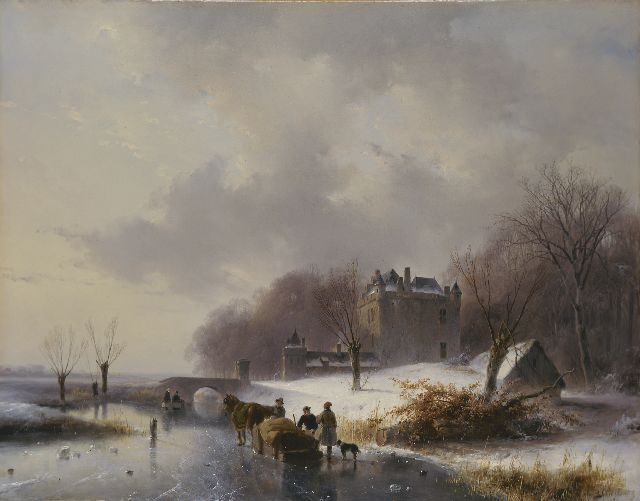 Andreas Schelfhout | A winter landscape with castle 'Doornenburg'  in the distance, Öl auf Tafel, 41,6 x 53,9 cm, signed l.r.