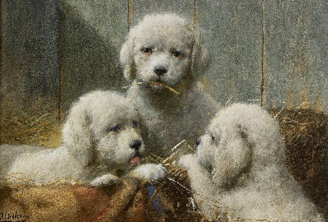 Otto Eerelman | Three puppies in a basket, Aquarell auf Papier, 36,0 x 53,5 cm, signed l.l.