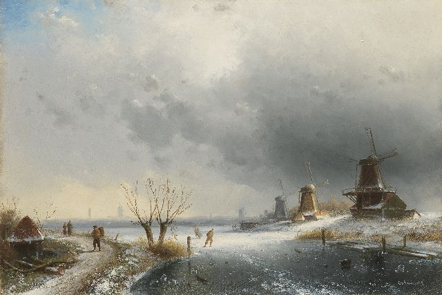 Charles Leickert | A river landscapein winter with windmills and skaters, Öl auf Tafel, 31,9 x 47,2 cm, signed l.r.