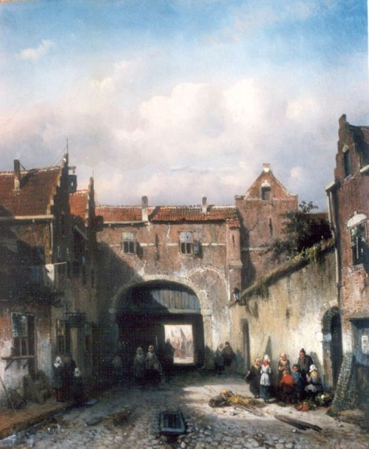 Charles Leickert | Activities by the city gate, Öl auf Tafel, 33,0 x 28,2 cm, signed l.r.