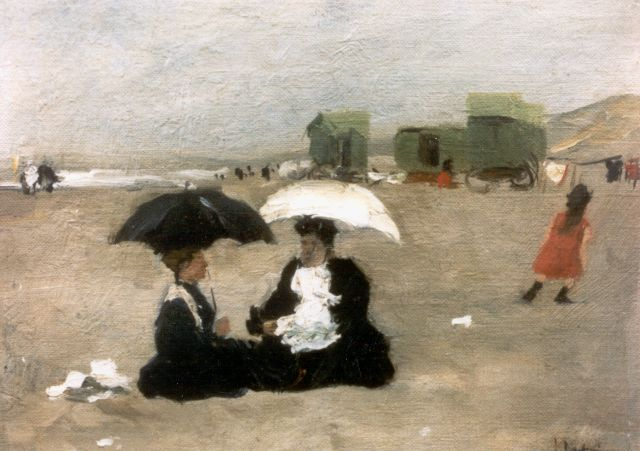Floris Arntzenius | Elegant ladies at the beach, 1907, Öl auf Leinwand auf Tafel, 21,3 x 28,7 cm, signed l.r.