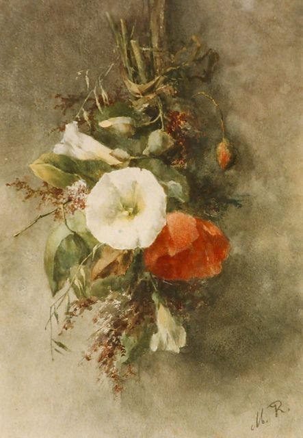 Margaretha Roosenboom | A bouquet with hedge bindweed and poppies, Aquarell auf Papier, 35,0 x 25,0 cm, signed l.r. with monogram