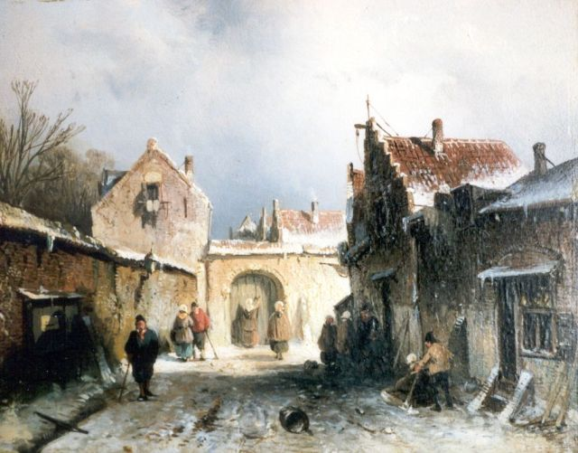 Charles Leickert | A snow-covered street, Öl auf Tafel, 15,0 x 19,0 cm, signed l.l.