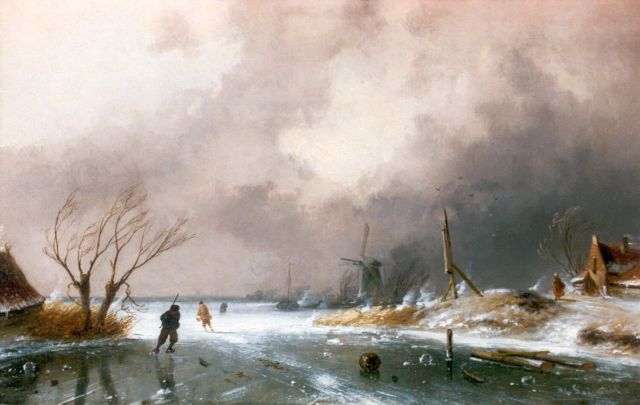 Charles Leickert | A winter landscape with skaters on a frozen waterway, Öl auf Tafel, 22,7 x 36,3 cm, signed l.r.
