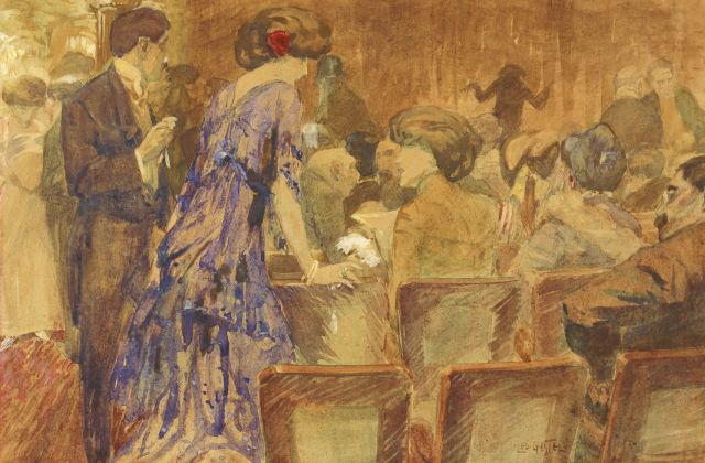 Leo Gestel | The theatre, Aquarell auf Papier, 32,0 x 49,0 cm, signed l.r.