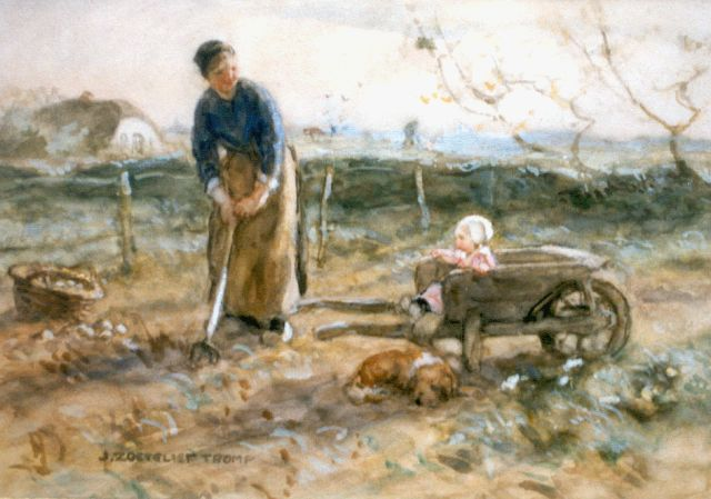Zoetelief Tromp J.  | Digging up potatoes, Aquarell auf Papier 27,0 x 37,5 cm, signed l.l.