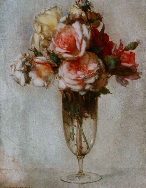 Jan Bogaerts | A still life with roses in a glass vase, Öl auf Leinwand, 40,0 x 30,2 cm, signed l.l. und dated 1927