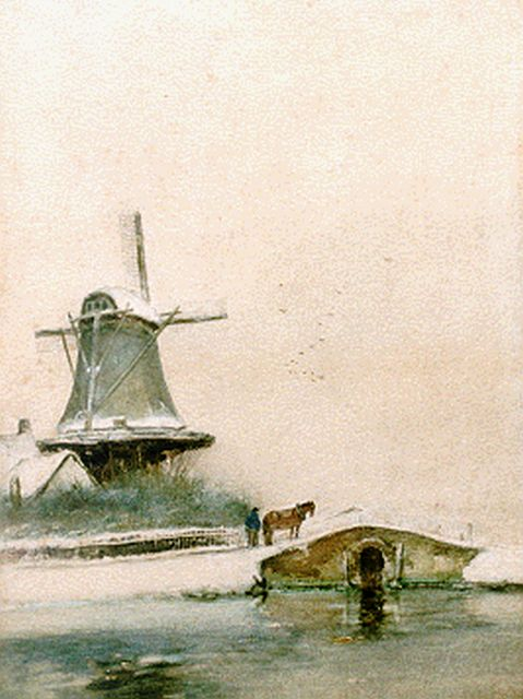 Louis Apol | A windmill in a snow-covered landscape, Aquarell auf Papier, 36,1 x 27,1 cm, signed l.l.