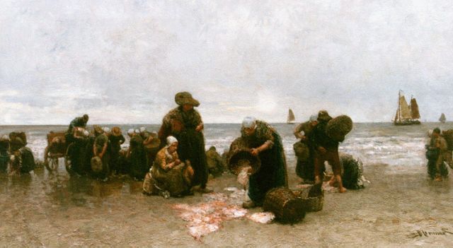 Bernard Blommers | Sorting the catch, Katwijk, Öl auf Leinwand, 72,2 x 122,5 cm, signed l.r.