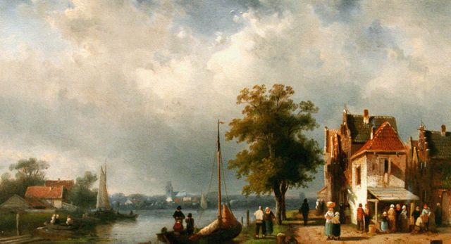 Charles Leickert | Daily activities along the river, Öl auf Tafel, 24,7 x 40,0 cm, signed l.r. und dated 1864