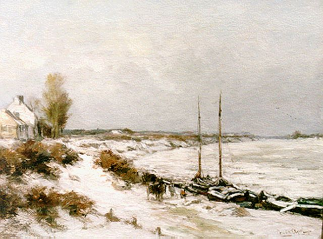 Louis Apol | Moored boats in winter, Öl auf Leinwand, 45,0 x 60,0 cm, signed l.r.