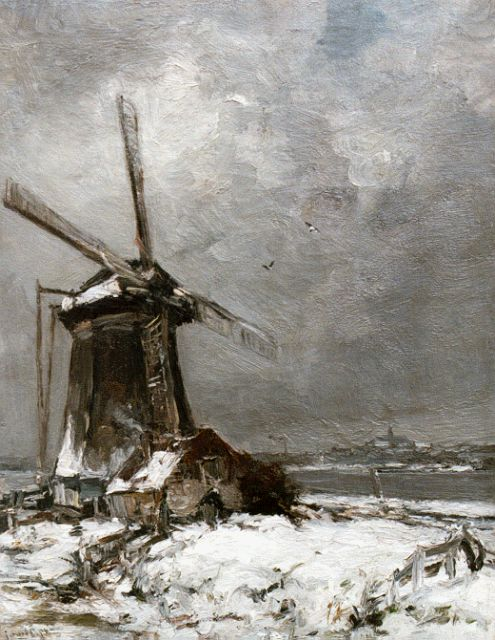 Louis Apol | A windmill in a snow-covered landscape, Öl auf Leinwand, 50,2 x 39,2 cm, signed l.l.