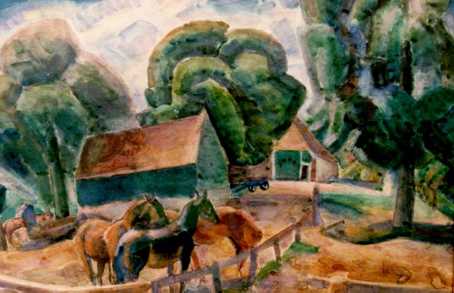 Leo Gestel | Horses by a farm, Aquarell auf Papier, 70,0 x 95,5 cm, signed l.r. und dated 1922