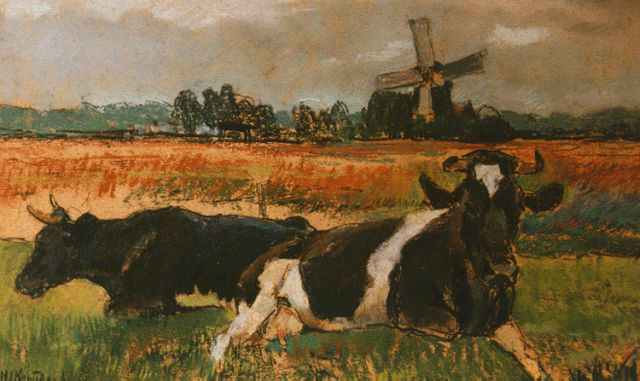 Herman Kruyder | Cows in a meadow, Pastell auf Malerholzfaser, 20,9 x 33,4 cm, signed l.l. und dated '12