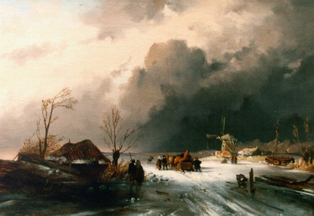 Charles Leickert | Winter landscape with skaters on the ice, Öl auf Leinwand, 32,5 x 46,0 cm, signed l.l. with monogram