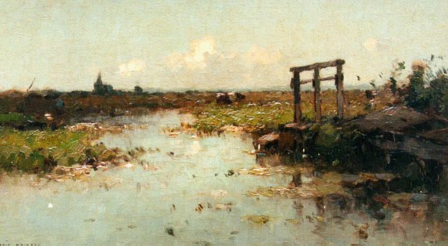 Knikker A.  | A polder landscape with a church in the distance, Öl auf Leinwand auf Tafel, 25,2 x 42,7 cm, signed l.l.