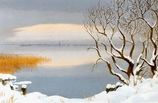 Dirk Smorenberg | The Loosdrechtse Plassen in winter, Öl auf Leinwand, 45,2 x 60,0 cm, signed l.r. und painted between 1949-1950