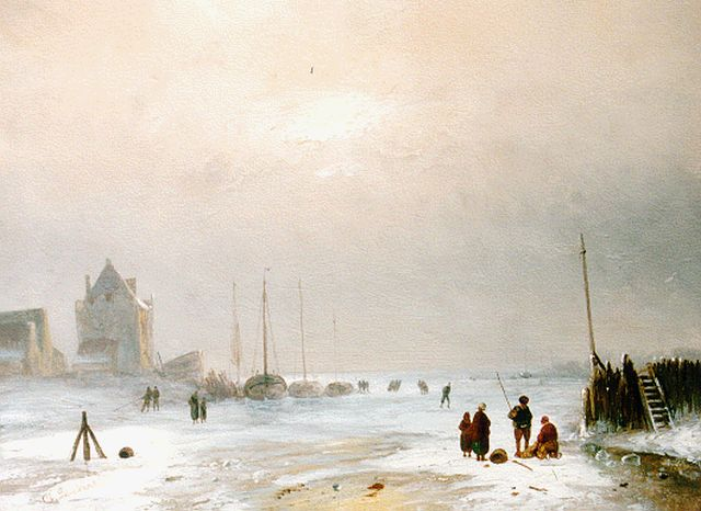 Charles Leickert | Activities on the ice, Öl auf Tafel, 23,7 x 31,8 cm, signed l.l.
