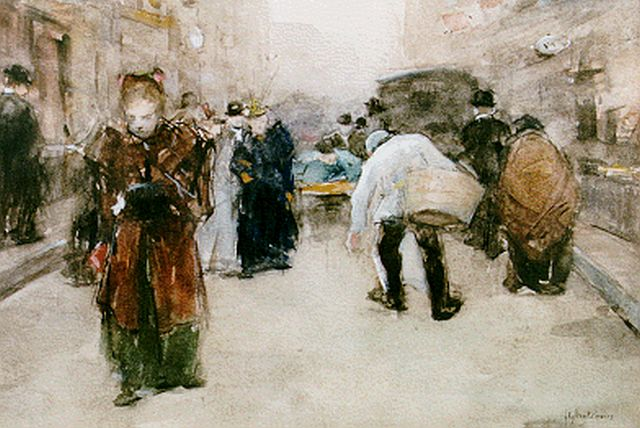 Floris Arntzenius | A view of the Hoogstraat, The Hague, Aquarell auf Papier, 17,6 x 25,0 cm, signed l.r. und datiert '95