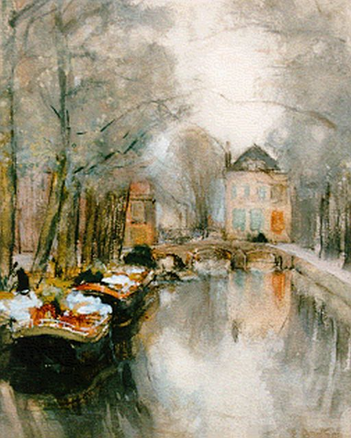 Floris Arntzenius | Barges with flowers moored at Smitswater, The Hague, Aquarell auf Papier, 22,0 x 17,0 cm, signed l.r.