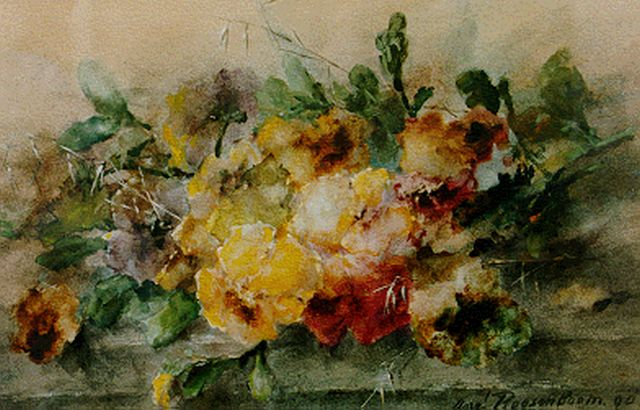 Margaretha Roosenboom | A still life with violets, Aquarell auf Papier, 33,8 x 52,7 cm, signed l.r. und dated '90