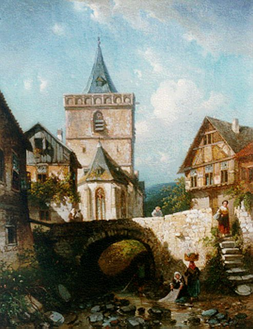 Charles Leickert | A view of Assmannshausen, Germany, Öl auf Leinwand, 45,0 x 35,4 cm, signed l.l. und painted circa 1860