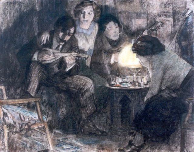 Leo Gestel | Having a party at the Boendermaker's house, Pastell auf Papier, 37,0 x 46,2 cm, signed u.l. und dated 1910