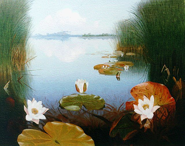 Dirk Smorenberg | A lake with waterlilies, Öl auf Leinwand, 54,4 x 69,1 cm, signed l.r.