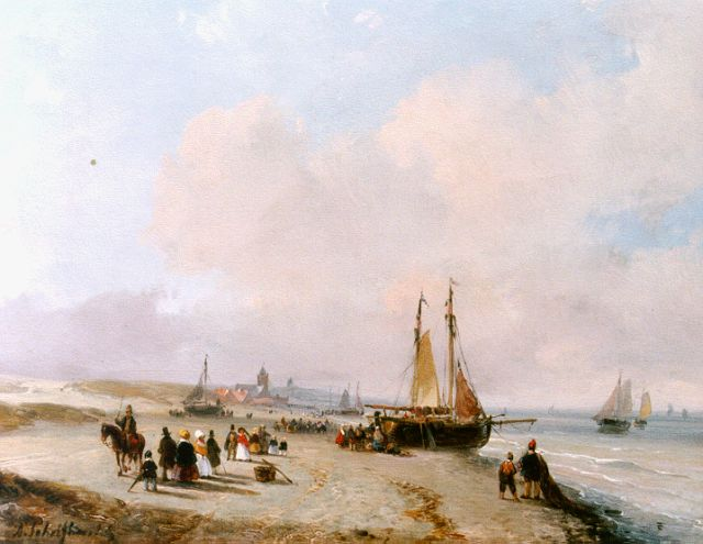 Andreas Schelfhout | An elegant company and fisher folk on the beach of Scheveningen, Öl auf Tafel, 18,4 x 23,0 cm, signed l.l. und painted circa 1855