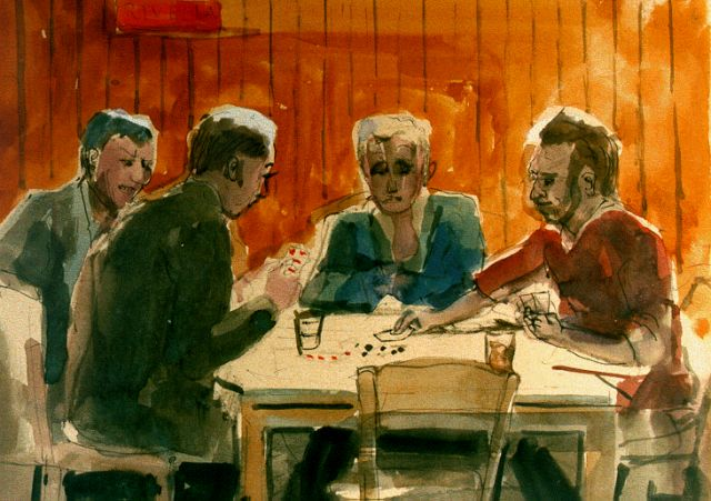 Harm Kamerlingh Onnes | Card playing, Tinte und Aquarell auf Papier, 26,2 x 29,5 cm, signed l.l. with monogram und dated '64