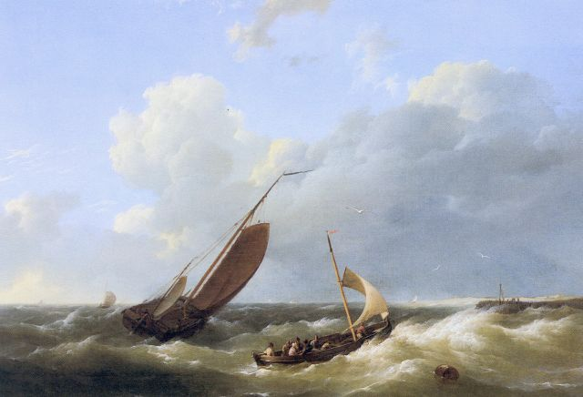 Hermanus Koekkoek | Shipping in choppy waters, Öl auf Tafel, 24,7 x 33,7 cm, signed l.r.
