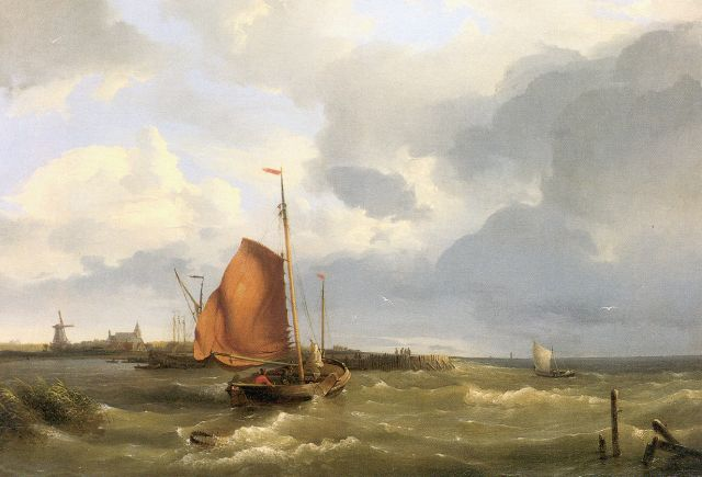 Hermanus Koekkoek | Smack on the Zuiderzee, Öl auf Leinwand, 38,5 x 55,0 cm, signed l.r. und dated 1849