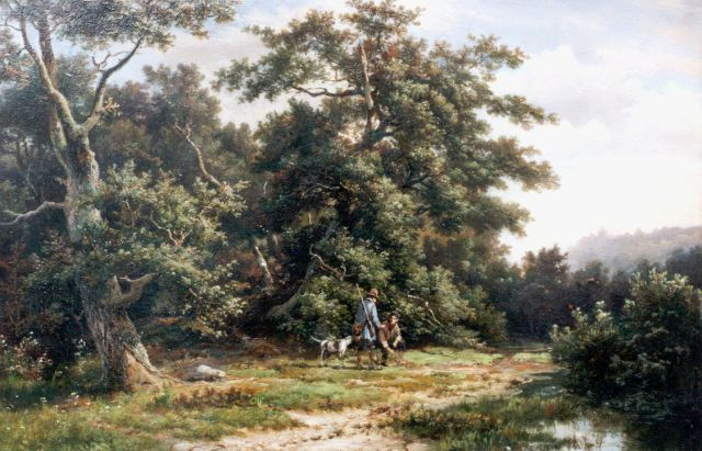 Hermanus Koekkoek | Hunters on a path, Öl auf Tafel, 28,7 x 43,8 cm, signed l.c.