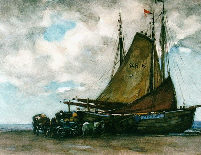 Willem de Zwart | Unloading the catch, Aquarell auf Papier, 34,6 x 43,8 cm, signed l.r.