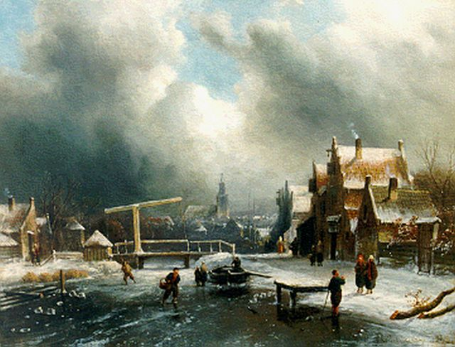 Charles Leickert | A winter landscape with skaters, Öl auf Tafel, 26,9 x 35,4 cm, signed l.r.