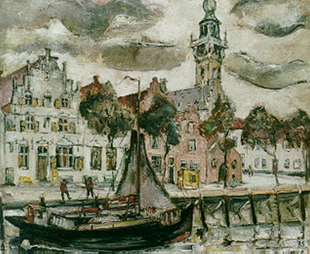 Kimpe R.J.P.  | A view of the harbour of Veere, Öl auf Leinwand 60,0 x 71,0 cm, signed l.r. und dated '35