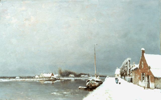 Louis Apol | A landscape with canal in winter, Öl auf Tafel, 52,5 x 88,3 cm, signed signed l.l.