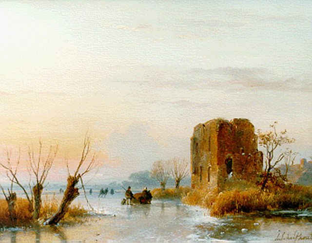 Andreas Schelfhout | A frozen waterway with a ruin in the distance, Öl auf Tafel, 20,7 x 27,0 cm, signed l.r.