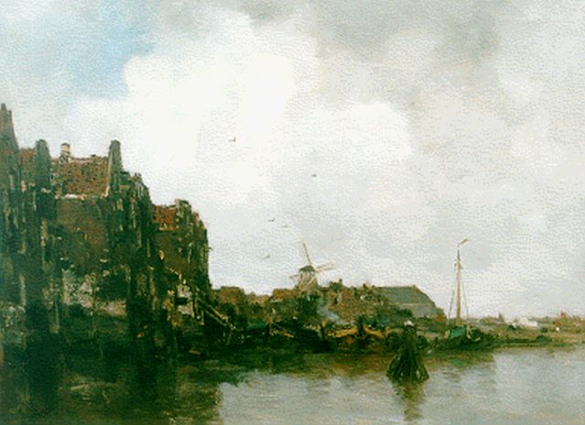 Jacob Maris | A harbour scene with moored boats, Öl auf Leinwand, 52,4 x 67,0 cm, signed l.l.