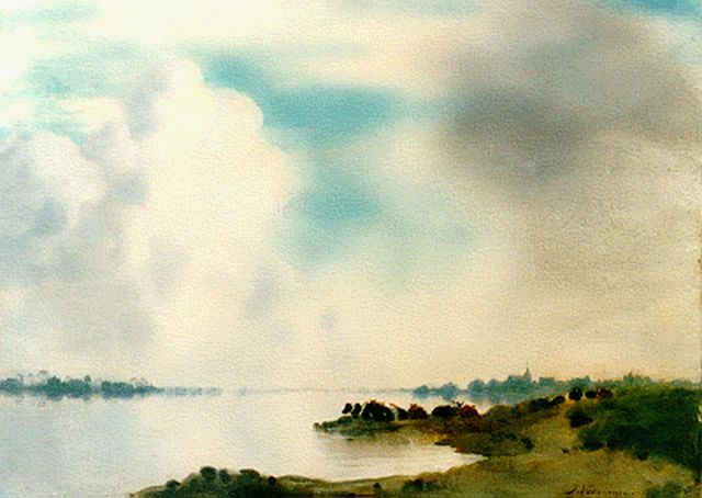 Jan Voerman sr. | A view of the river IJssel with Kampen in the distance, Öl auf Tafel, 42,4 x 52,0 cm, signed l.r.