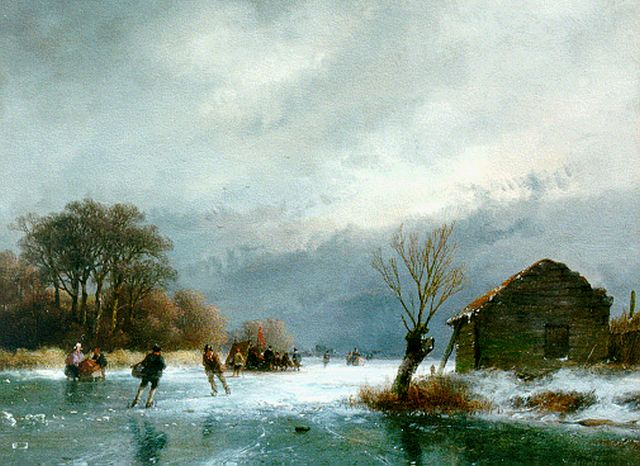 Andreas Schelfhout | A winter landscape with skaters, Öl auf Tafel, 21,8 x 29,0 cm, signed l.r. und dated '57