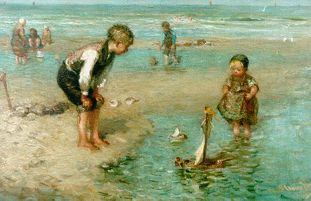 Bernard Blommers | Children playing in the surf, Öl auf Leinwand, 36,2 x 54,3 cm, signed l.r.