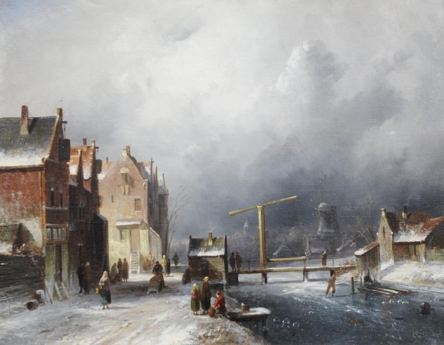 Charles Leickert | A Dutch town in winter, Öl auf Leinwand, 35,2 x 44,4 cm, signed l.r.