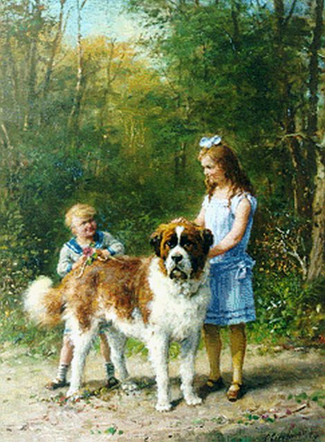 Otto Eerelman | A St Bernard with children, Öl auf Leinwand, 60,2 x 45,0 cm, signed l.r. und dated 1926