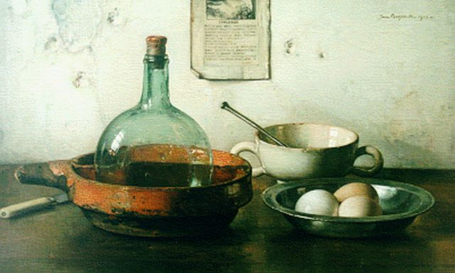 Jan Bogaerts | A still life with eggs, Öl auf Leinwand, 39,9 x 65,1 cm, signed u.r. und dated 1933