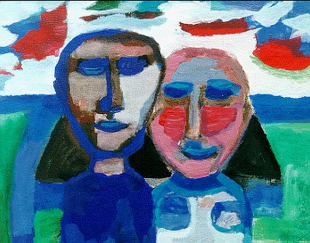 Gerrit Benner | A couple, Gouache auf Papier, 50,0 x 65,5 cm, signed l.r. und dated on the reverse 1967